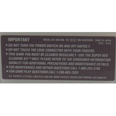 Super Nintendo Caution Label [Made in Japan SNS-CAN]
